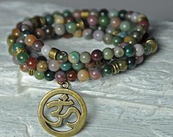 Yin-Yang Balance, Indian Agate 108 Mala Prayer Beads, Yoga Boho Necklace, Stackable Wrap Bracelet, Healing Meditation Bracelet, Japa Mala,