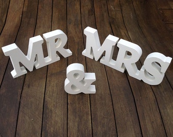 custom Mr & Mrs freestanding letters