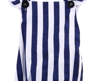 Navy and white striped ruffle romper