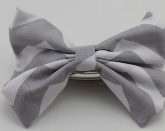Gray and White Chevron Bow