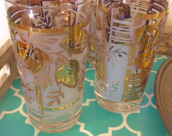 Vintage gold leaf design drinking glasses, set of 4