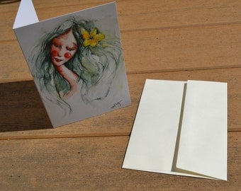 "Pretty GREETING CARD-5x7""-Dreaming Girl"