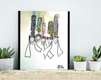 "Watercolor made hand drawing Bigoudènes ""the Sisters"""