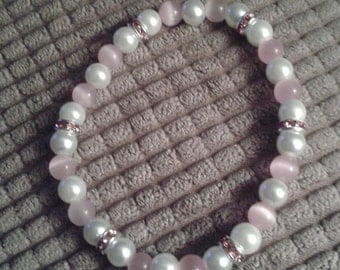 Pink Tiger's Eye and White Glass Bead Bracelet