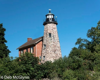 Blues and Greens surround the Charlotte-Genesee Lighthouse, Digital Download, Digital Photograph, Wall Art