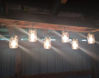 6 Bulb Mason Jar Chandelier