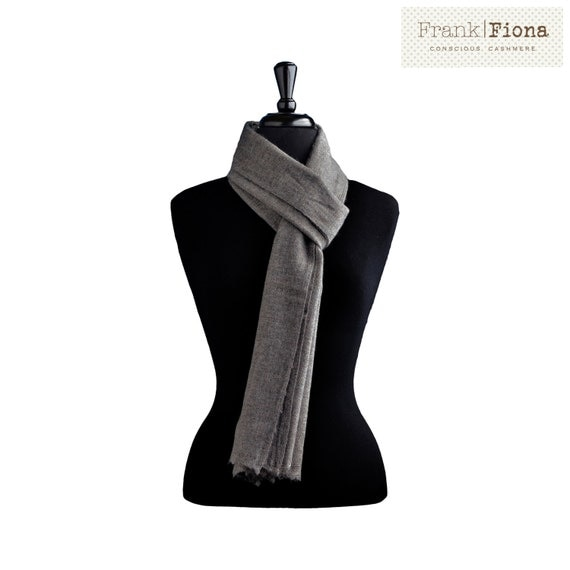 100% Pure Organic Cashmere Scarf,Grade A Mongolian Cashmere,Christmas gift,12x80 inches,Dark Gray,Lightweight Shawl,Eco Friendly,Knitted,6N