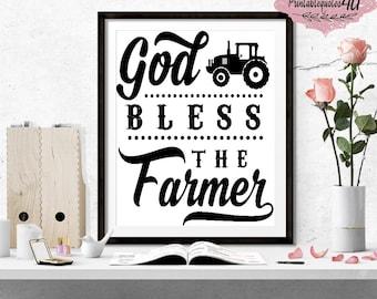 God Bless The Farmer, Farm Prints, Farm printable artwork, Farmhouse Sign Print, Farmhouse Wall Art, Farm Wall Art, Farmer Sign, Farmer Gift
