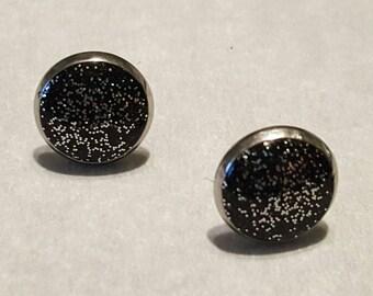 Black & Silver 8mm Stainless Steel Earrings