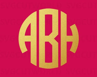 Monogram Alphabet SVG, Three Letters Monogram, Svg, use with Cricut & Silhouette