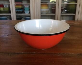 Bright Orange Enamel Bowl
