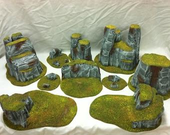 Wargame Scenery 28mm Terrain Set Stone Mountains Warhammer Warmachine D&D Malifaux