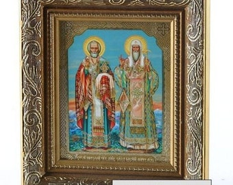 Rare! Icon St NICHOLAS and ALEXIJ MOSCOWIAN