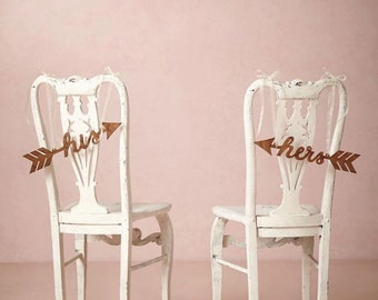 Custom Wedding Chair Signs Decoration: his and hers arrows