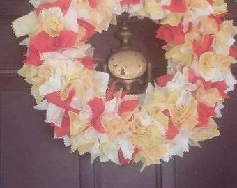 Straw fabric punch wreath