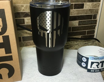 Powder Coated Matte Black 30oz RTIC With Punisher