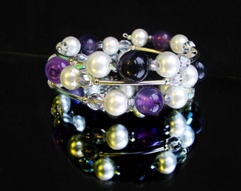 Bracelet, beaded bracelet , memory wire wrap bracelet, white bracelet, purple beaded bracelet, silver bracelet, white beaded bracelet