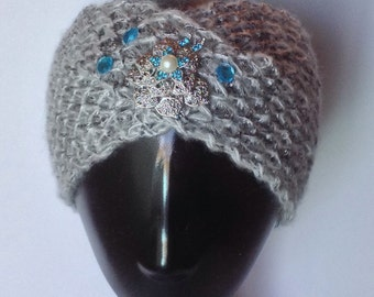 Gray knit bedazzled/decorated ear warmer or ski band