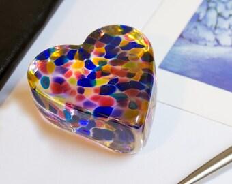 Heart Paperweight Blown Art Glass Home Office Decor Rainbow Blue Pink Yellow Heavy Heart