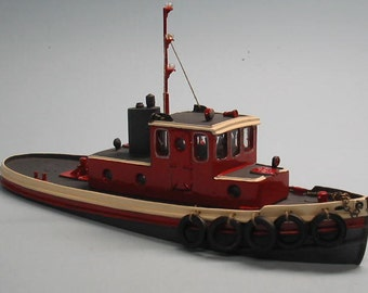 HO 1:87 Scale 45' Harbor Tugboat Kit Waterline Hull for Model Railroading, Diorama