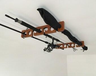 Fishing rod rack etsy for Ceiling mount fishing rod holders