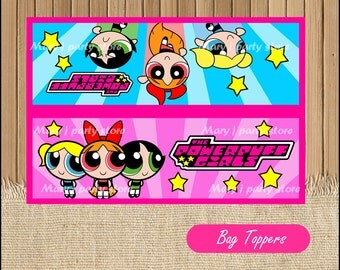 The Powerpuff Girls bags toppers, The Powerpuff Girls treat bag instant download, The Powerpuff Girls party bags