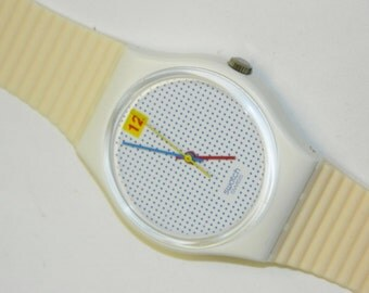 Swatch Dotted Swiss Ribbed vintage plastic swiss quartz watch