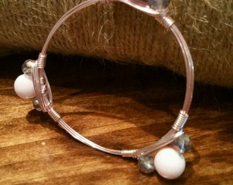 Pink and Silver Beaded Wire Wrapped Bracelet