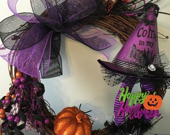 Happy Halloween Witch Hat and Legs Wreath Purple Orange and Green with Pumpkin
