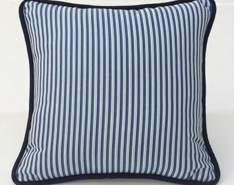 "Navy blue & white stripe designer 18"" square decorative pillow toss pillow throw pillow cover w/ navy welt cord"
