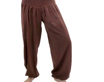 Pants, cotton harem pants Brown for ladies