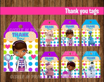 Doc McStuffins Thank You tags, Printable Doc McStuffins gift tags, Doc McStuffins party Thank You tags instant download