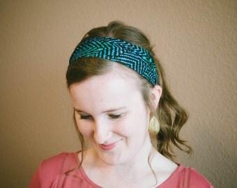 Blue and Green Patterned Yoga//Athletic//Turban Headband