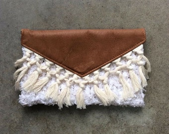 White Knit Fringe Clutch
