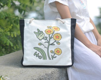 Totoro Daisies Tote Bag Chinchilla Daisies Bag Cotton Canvas Bag Shopping Bag Reusable Shopper Bag Market Bag Eco Tote Bag, Reusable Bag