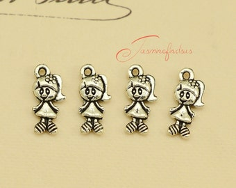 35PCS--15x7mm ,Girl Charms, Antique Tibetan Silver 3D Lovely Little girl Charm pendants, jewelry making, DIY supplies