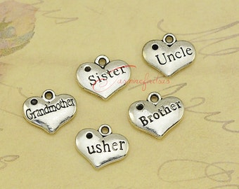 25PCS--13x16mm ,Heart Charms, Antique silver Brother,Sister,Uncle, Grandmother,Usher Heart Charm pendants , Family charms.