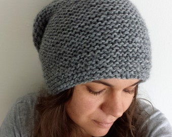 Oversized knit hat, Handmade hat, Chunky knitted hat, Unisex had, Slouchy Hat Beanie, Gray hat , Winter hat
