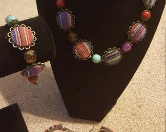 Fabric beaded jewelry set