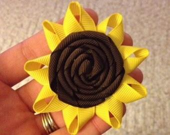 Sunflower Hair Bow on Alligator Clip