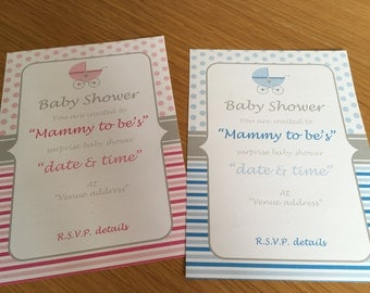 25 Personalised baby shower invitations and tags