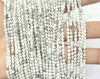 White Howlite Beads 2mm 3mm 4mm Faceted Beads Howlite Round Beads Natural 2mm 3mm white Beads Spacer Beads Tiny Beads White Gemstone Beads