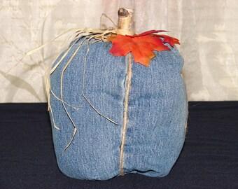 Stuffed Denim Pumpkin