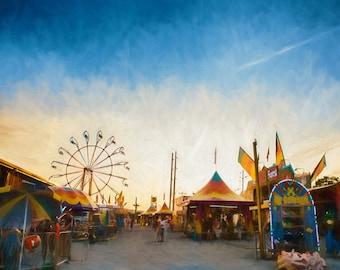Colorful County Fair Carnival Scene - Landscape Photography, Wall Art, Carnival Print, Ferris Wheel, County Fair Decor