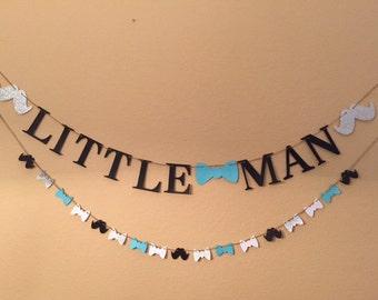 Little Man Banner, Baby shower Banner, Baby Boy Banner, Mustache Garland, Bow Tie Banner, Bow Tie & Mustache Banner, Banner, Photo Prop