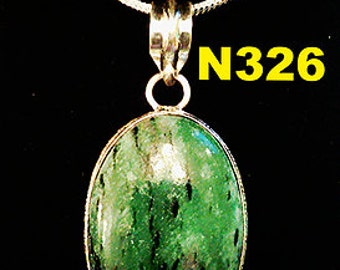 Ruby Zoisite Solid Silver 925 Gemstone Pendant Necklace and Chain
