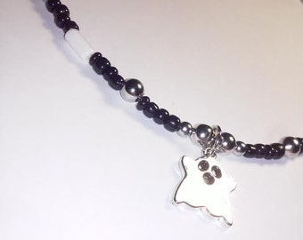 Black and White Halloween Ghost beaded necklace