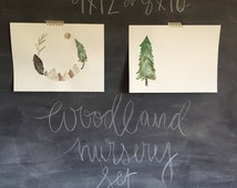 Custom nursery woodland watercolor 9x 12 or 8 x 10 trimmed nursery art set unique and made to order
