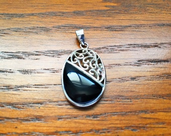 Silver Filigree with Black Onyx Pendant