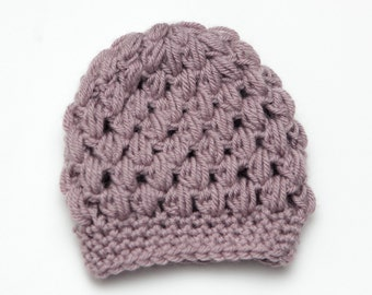 Lavender Puff Stitch Newborn Hat - Crochet Infant Toboggan - New Baby Gift - Gift for her